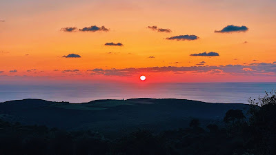 Free wallpaper Sun, Sunset, Hills, Trees, Night