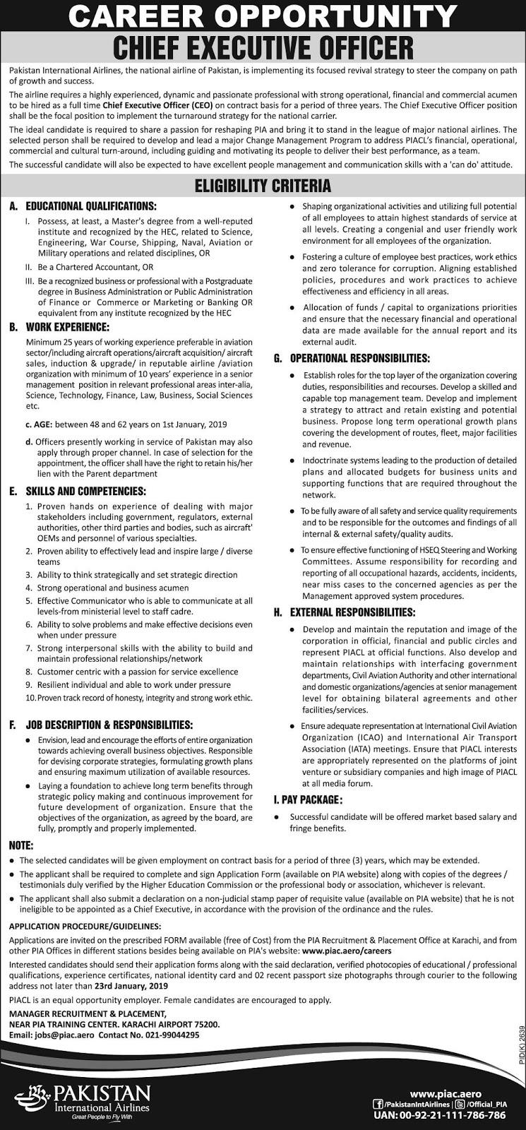 Jobs Vacancies In Pakistan International Airlines PIA 10 January 2019