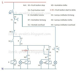 Diagram kontrol pengasutan Star - Delta manual