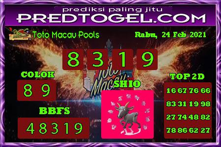 Pred Macau Rabu 24 Februari 2021