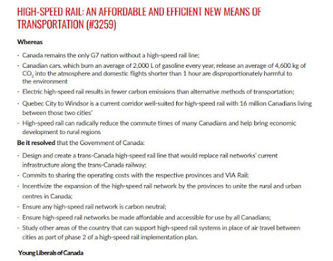 high speed rail policy Liberal Party Canada