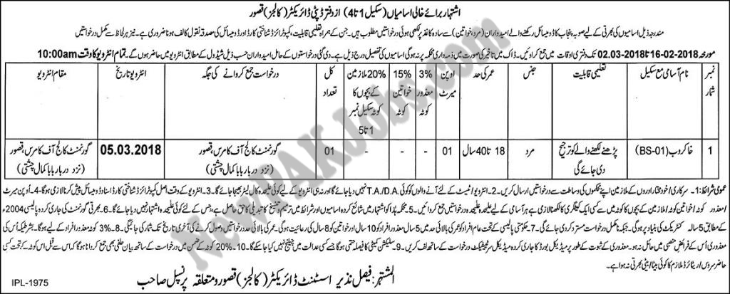New Latest Vacancies in the office of Deputy Director Colleges Kasur Jobs 16 Feb 2018