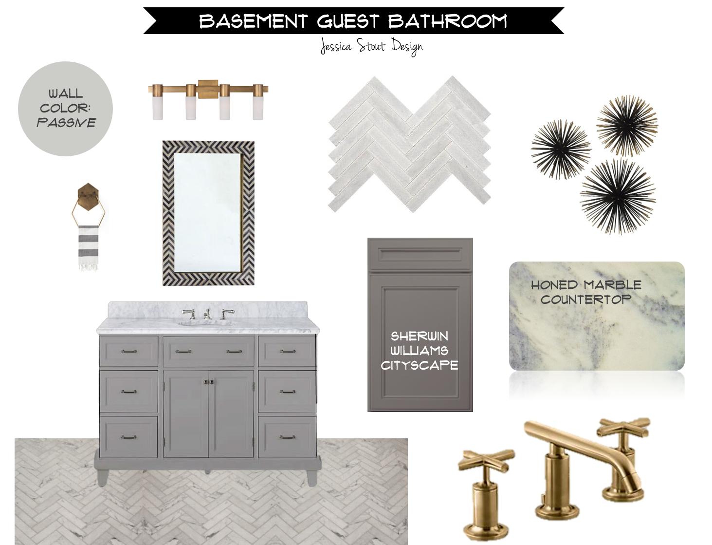 {Jessica Stout Design}: Gray + Gold Bathroom Design Board