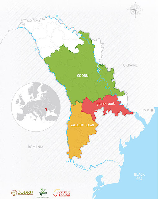 Wine map and wine regions of Moldova