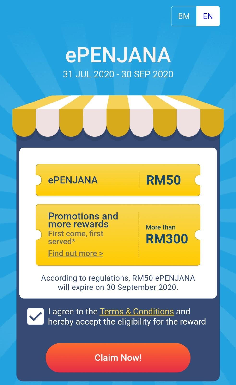 Tebus Insentif Kredit RM50 ePenjana Melalui Aplikasi TouchnGo eWallet