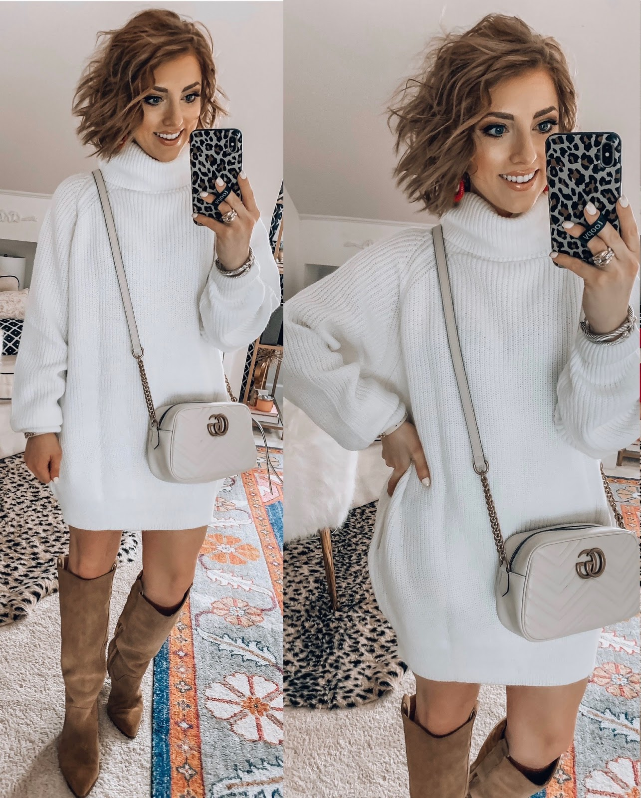 Recent Amazon Finds - Under $40 Sweater Dress with Gucci Bag - Something Delightful Blog #AmazonFashion #RecentFinds #Hearts #ValentinesDay #AffordableFashion