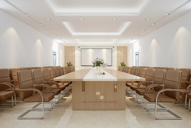 Mẫu bàn veneer phòng họp với gam màu trắng sữa tươi mới và trẻ trung cho doanh nghiệp