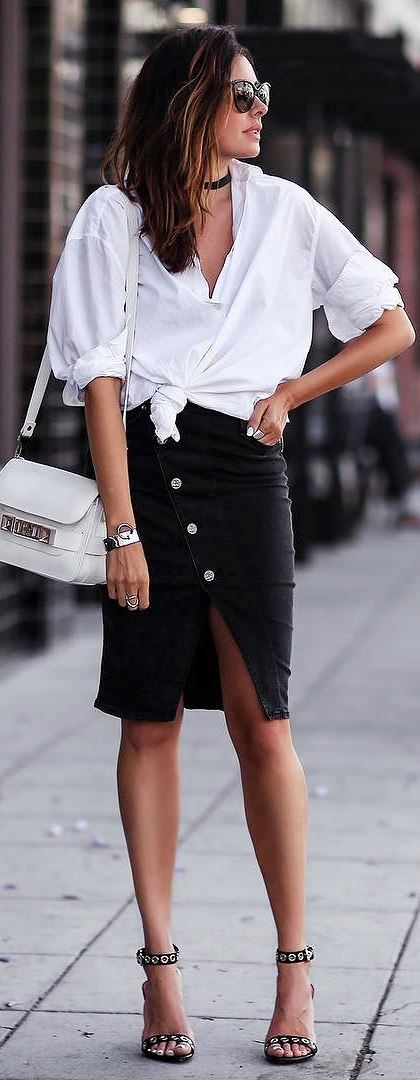 perfect office style outfit: blouse + heels + bag + skirt