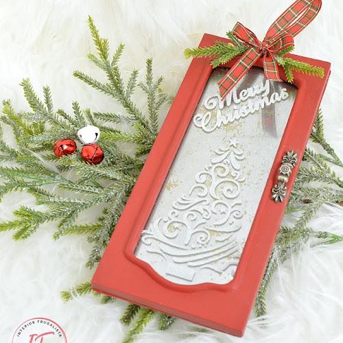 Repurposed Jewelry Box Red Christmas Door Ornament