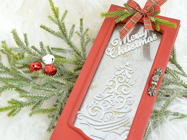 Repurposed Jewelry Box Red Christmas Door Ornament