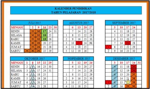 Kalender Pendidikan 2017/2018 untuk SD, SMP dan SMA