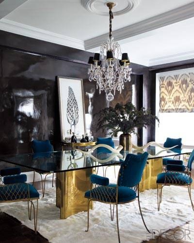 Elle Decor Jackie Astier blue lacquer dining room