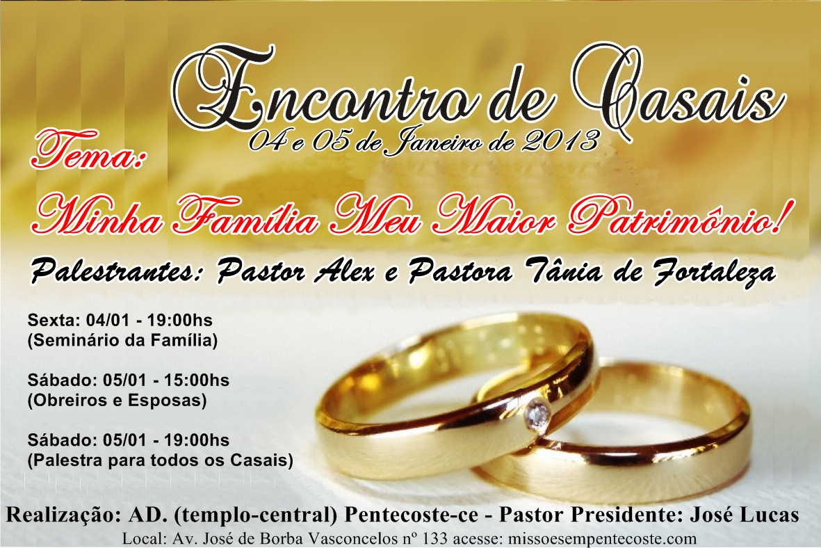 Missões Em Pentecoste: ENCONTRO DE CASAIS