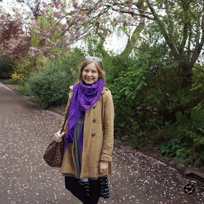 awayfromtheblue instagram | camel trench coat, purple scarf, grey skater dress, speedy bandouliere Edinburgh Zoo in May outfit