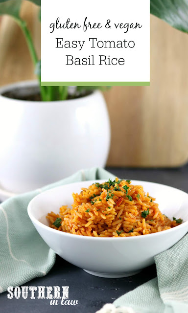 Easy One Pot Tomato Basil Rice Recipe - gluten free, vegan, low fat, clean eating, dairy free, egg free