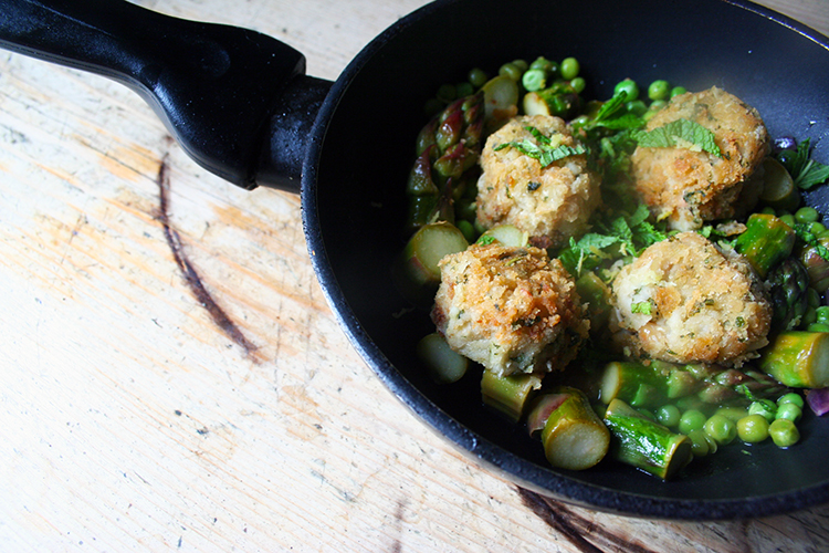 cannellini bean patties with spring vegetables