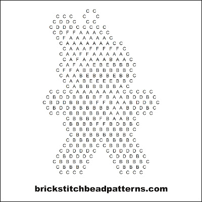 Click for a larger image of the Christmas Gingerbread Man brick stitch bead pattern word chart.
