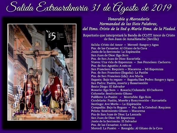 Repertorio Musical en la extraordinaria de la Hermandad de las Siete Palabras de Cádiz el próximo 31 de agosto