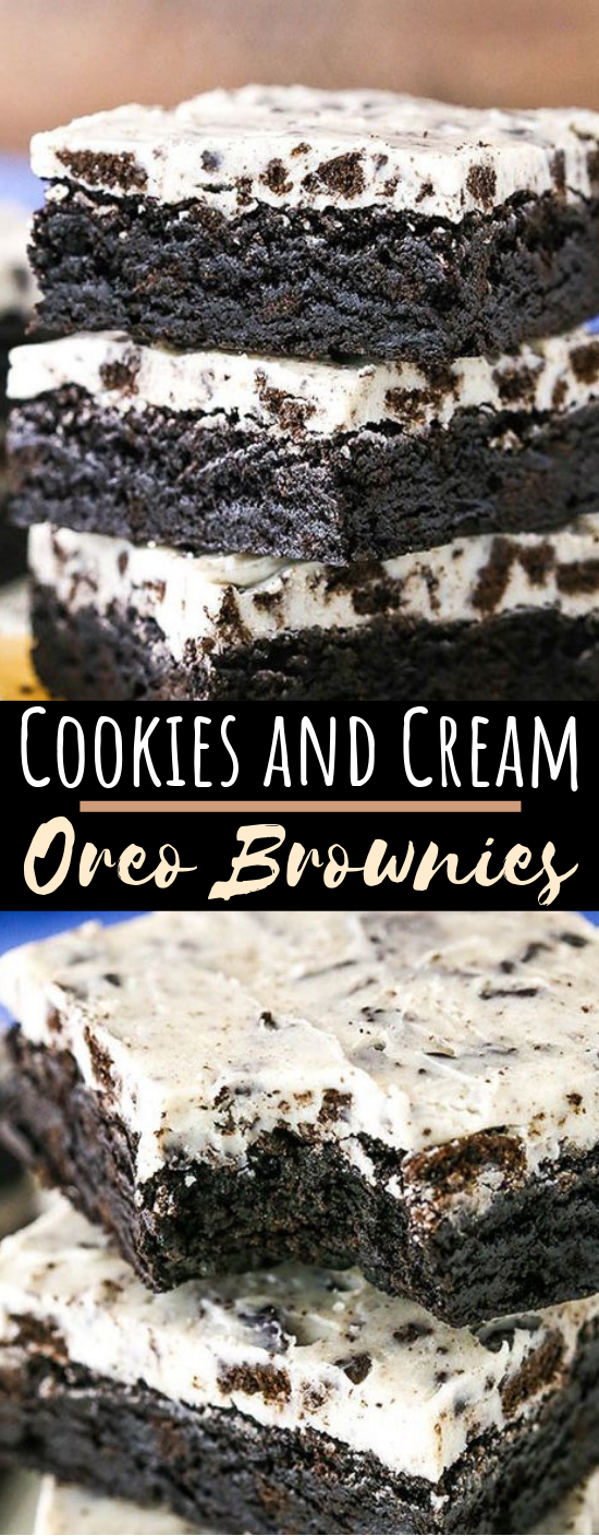Fudgy Cookies and Cream Brownies #desserts #cookies