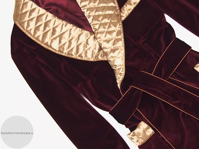 Mens gold red silk robe quilted dressing gown burgundy velvet smoking jacket