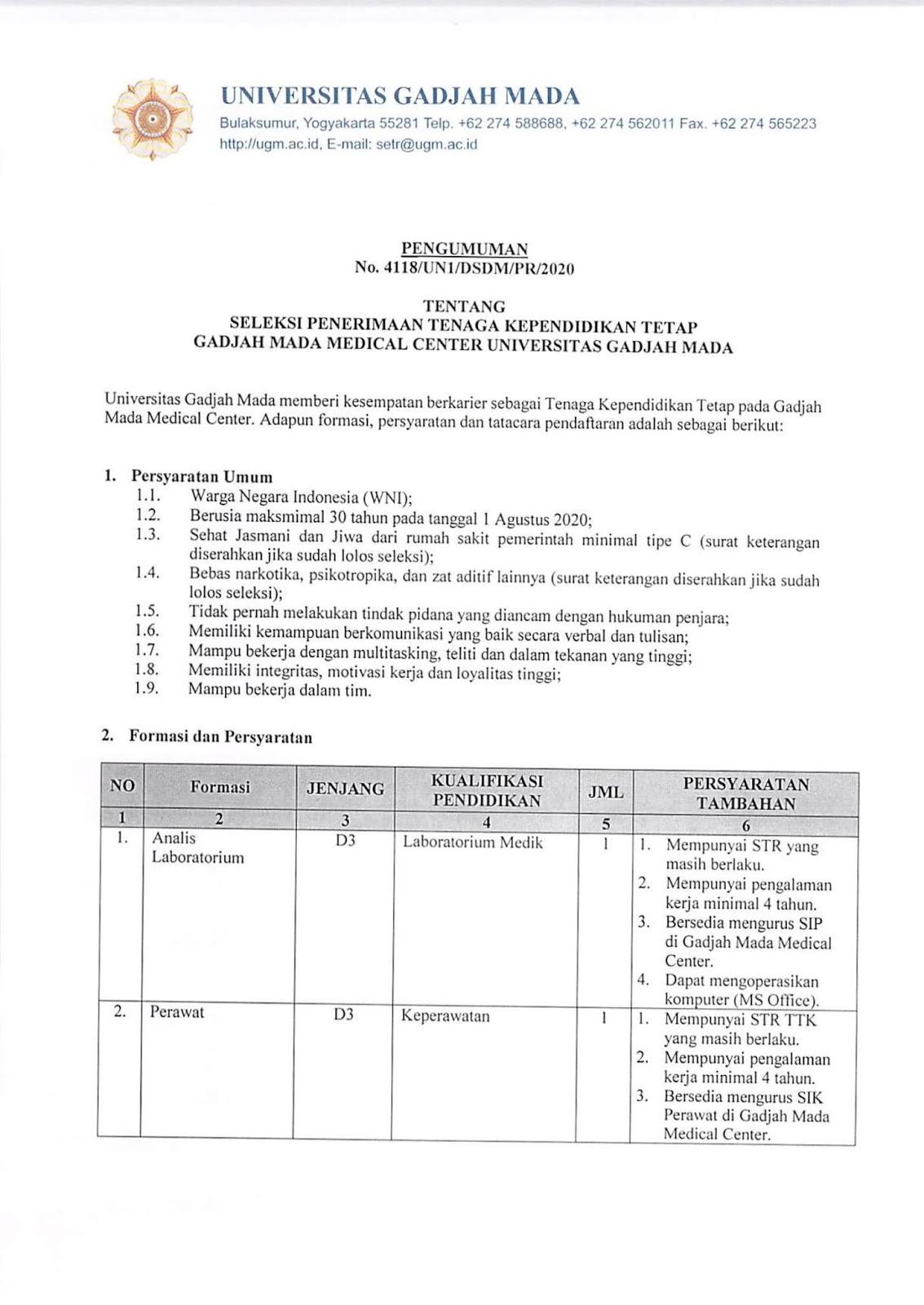 Lowongan Kerja Tenaga Pegawai Universitas Gadjah Mada Tahun 2020