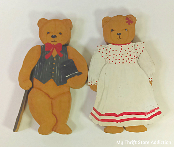Hand painted wooden bears