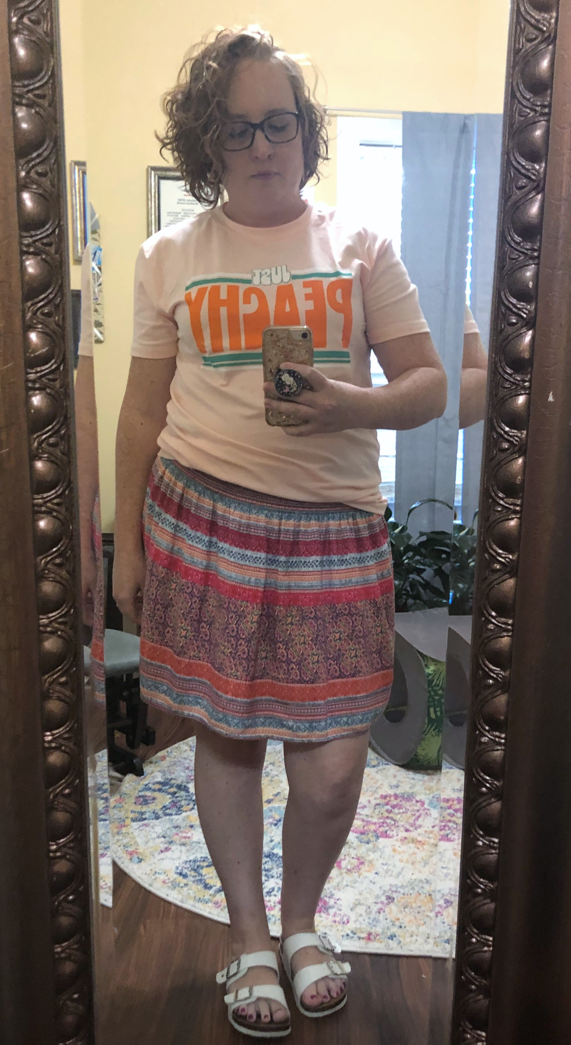 just peachy tshirt with boho skirt
