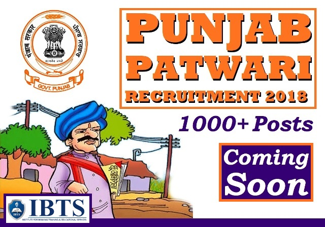 Punjab Patwari Recruitment 2018 - 1000+ Vacancies to be released Soon