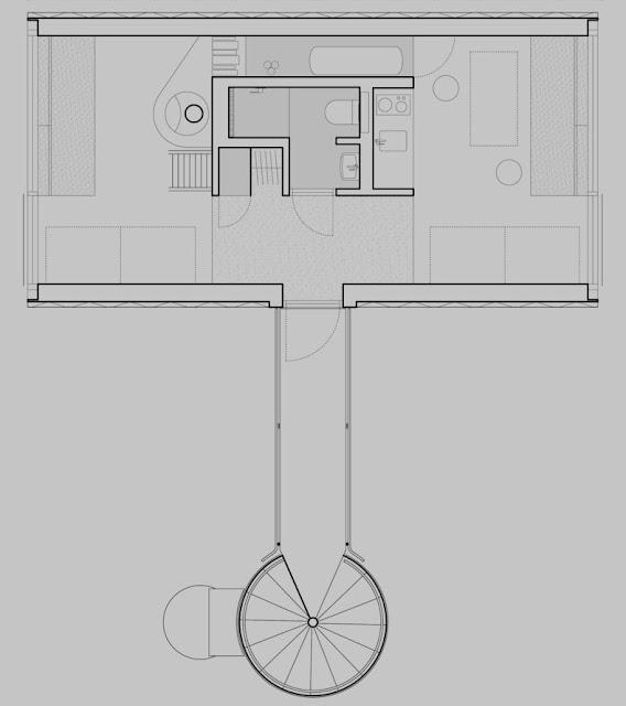 plano arquitectónico de la cabaña distribución interior
