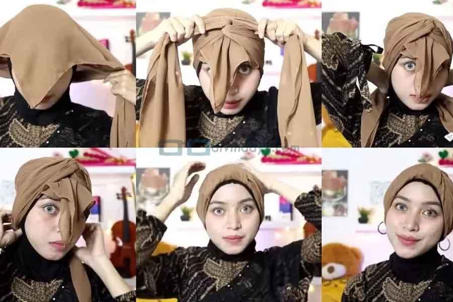 Tutorial Cara Memakai Hijab Turban Segi Empat