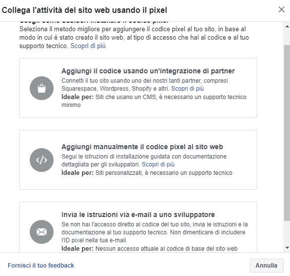 le diverse opzioni per inserire facebook pixel