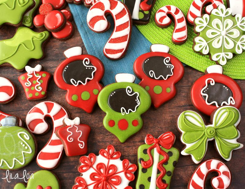 Christmas ornament decorated sugar cookies