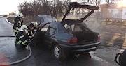 Kigyulladt egy autó Túrkevénél
