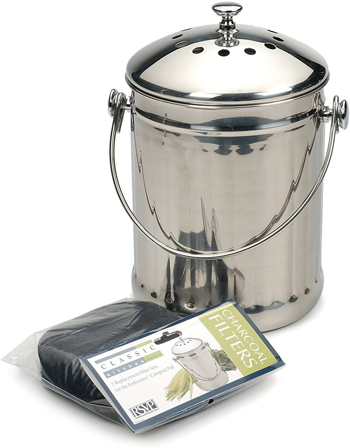 Stainless Steel Compost Pail with Charcoal Filters | Photo via Amazon