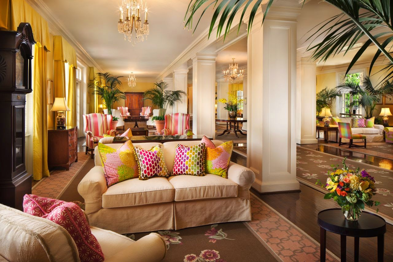 the lobby at the Carolina Inn, Pops of color with Lilly Pulitzer