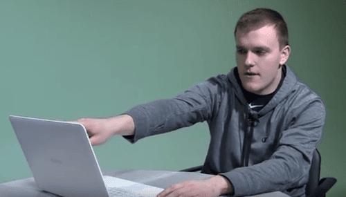 Eddie Using Litebook Laptop