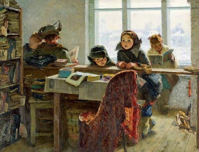 «В сельской библиотеке (читатели)», Шевандронова Ирина Васильевна, 1954 г.