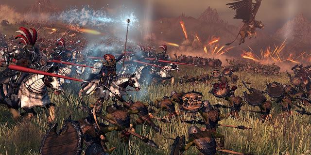 Carga de caballería contra tropas goblin, en Warhammer Total War