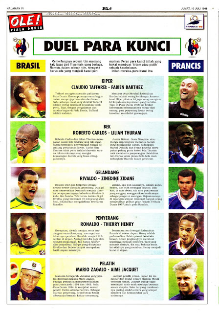 PIALA DUNIA 1998 BRASIL VS PRANCIS DUEL PARA KUNCI