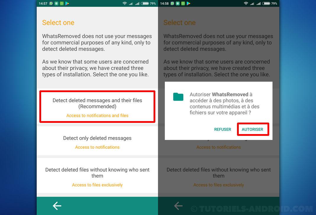 WhatsRemoved+ Android : sélectionner type détection de messages supprimés