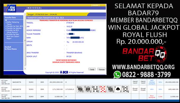 Wow Win Global Jackpot Royal Flush 20 JT Member Bandarbetqq Cemebetqq  Server Idn Poker