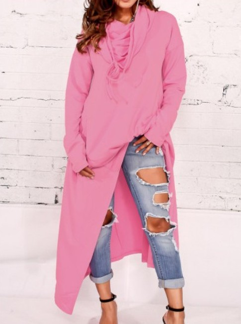Hooded Asymmetric Hem Plain Hoodies-Price:$32