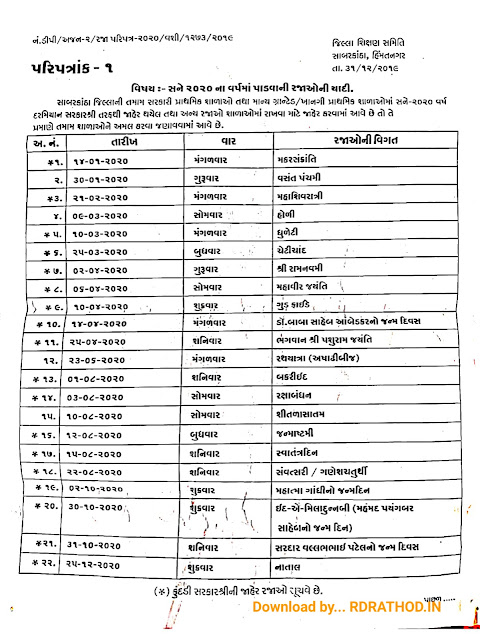 SABARKANTHA JILLA RAJA LIST (2020) | DOWNLOAD GANDHINAGAR HOLIDAY LIST 2020