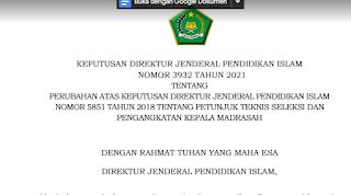 Download Juknis Pengangkatan Kepala Madrasah Tahun 2021