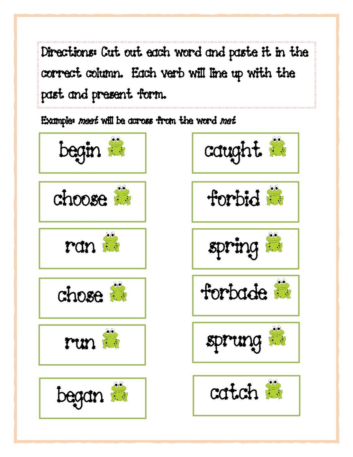 3 6 Free Resources Irregular Verbs Activity