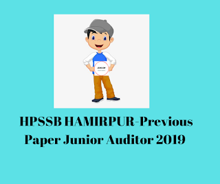 HPSSB HAMIRPUR-Previous Paper Junior Auditor 2019
