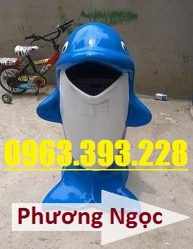 Thùng rác hình con cá heo, thùng rác công cộng, thùng rác cá heo, thùng rác TRCH1