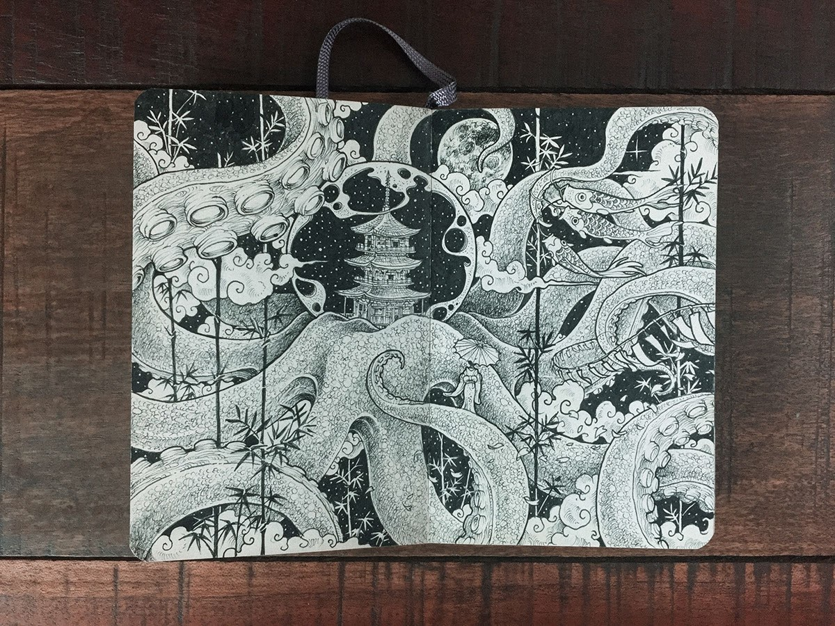 06-Living-in-a-Bubble-Kerby-Rosanes-Detailed-Moleskine-Doodles-with-many-Whales-www-designstack-co