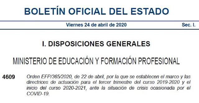BOE con Orden directrices tercer trimerstre curso 2019/2020 y comienzos del sigiuente, Ministerior de Educación y Formación Profesional, Enseñanza UGT Ceuta, Blog de Enseñanza UGT Ceuta