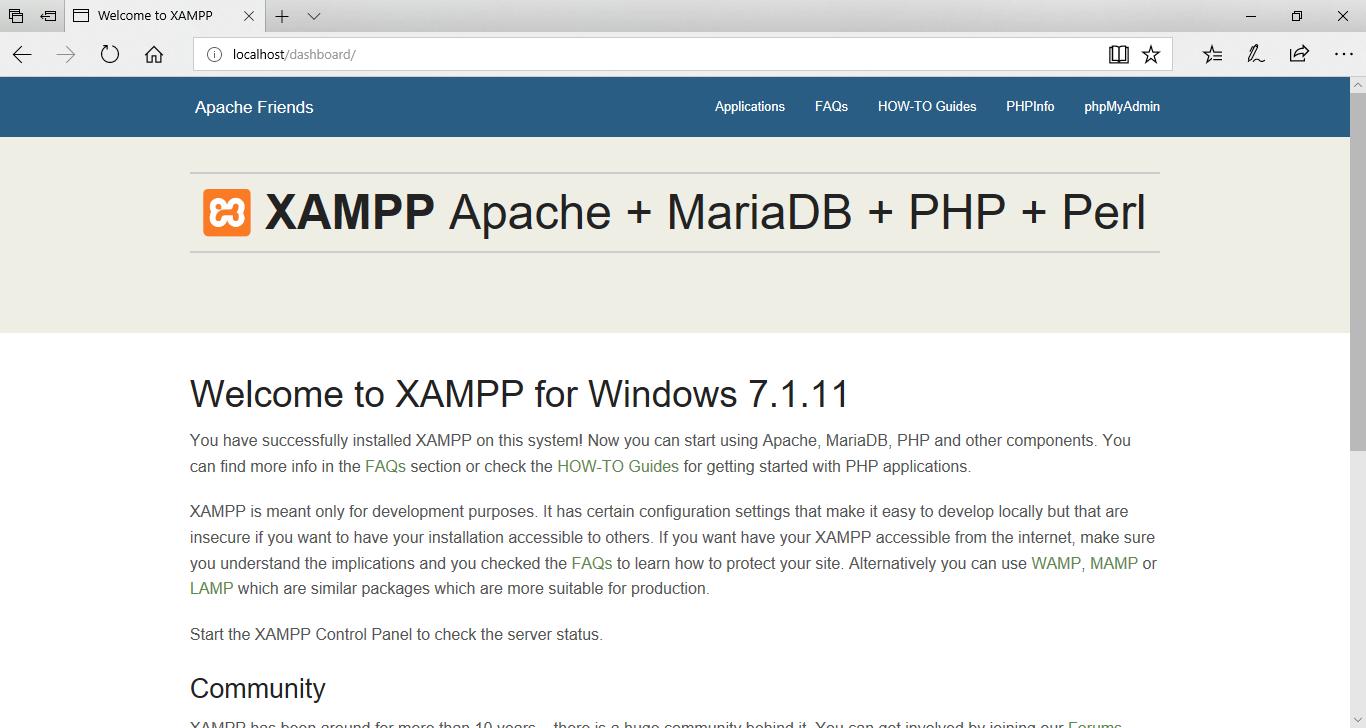 XAMPP - Localhost Dahsboard